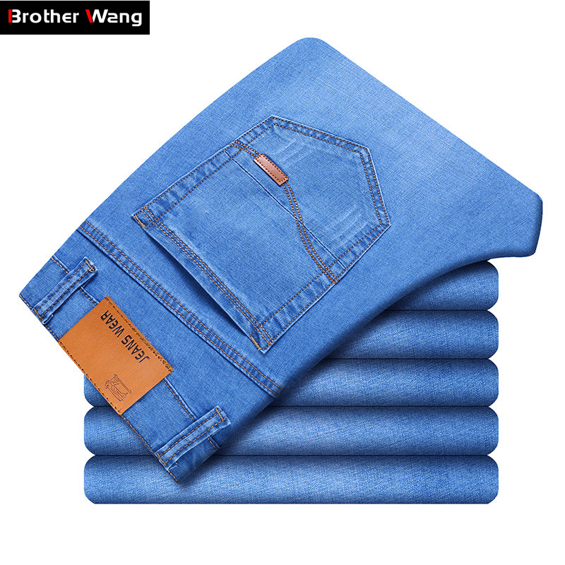 Brand Men's Thin Jeans 2020 Summer New Style Business Casual Slim Fit Elastic Classic Style Trousers Sky Blue Pants Male