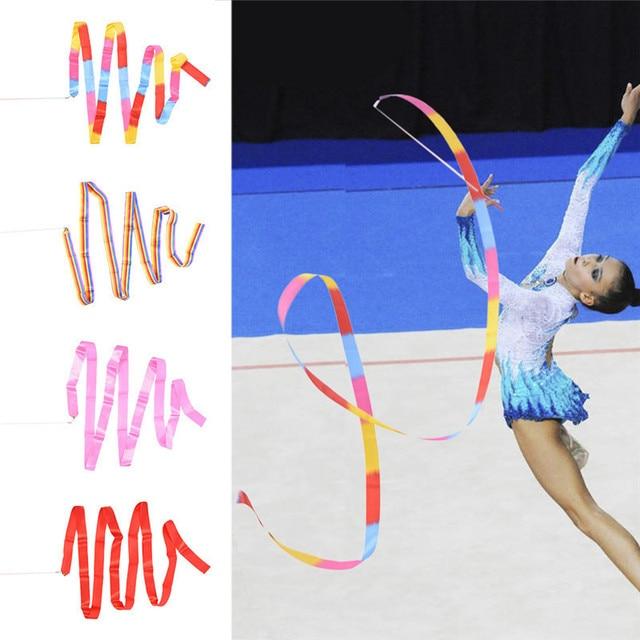 38M Gym Dance Ribbon Rhythmic Art Gymnastic Ballet Streamer Twirling Rod  Stick For Gym Training