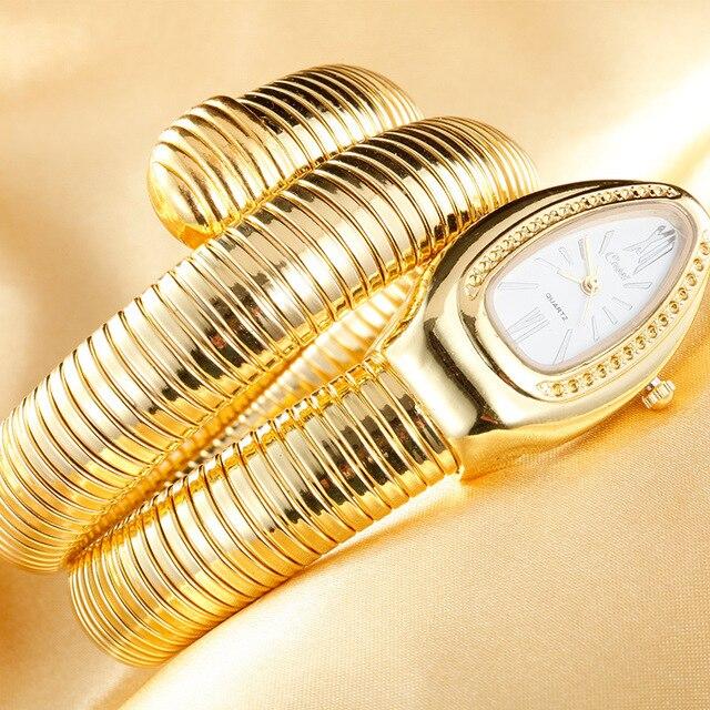 CUSSI 2018 Brand Luxury Serpentine Womens Watches Silver Quartz Wristwatches Ladies Bracelet Watch Snake Clock Reloj Mujer Gifts