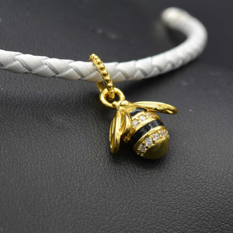 925 כסף סטרלינג חרוזים קסמי אמייל שחור צבע זהב גליטר מלכת דבורה צווארון תליון Fit פנדורה צמיד & שרשרת Jewelr