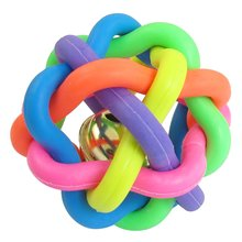 DSHA New Hot 6.5cm Diameter Cord Woven Jingle Bell Pet Dog Play Colorful Rubber Ball Toy