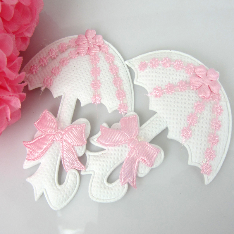 24pcs Baby Padded Umbrella Applique Baby Shower Favors Pink Girl Embellishments/ trim/Craft/Decorations 55 x 70mm