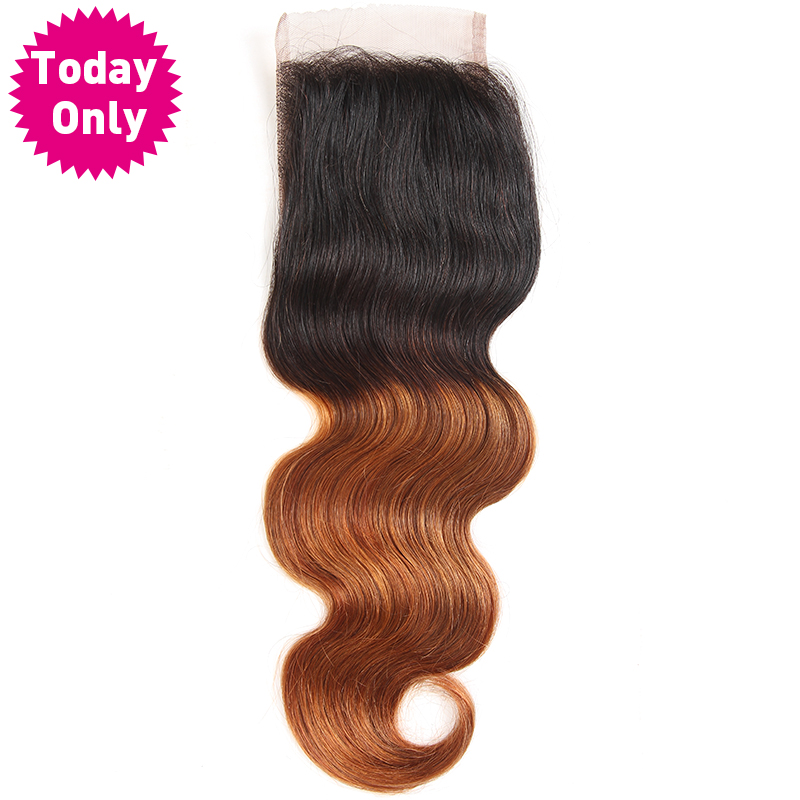 TODAY ONLY Ombre Brazilian Body Wave Bundles Lace Closure With Baby Hair Two Tone Human