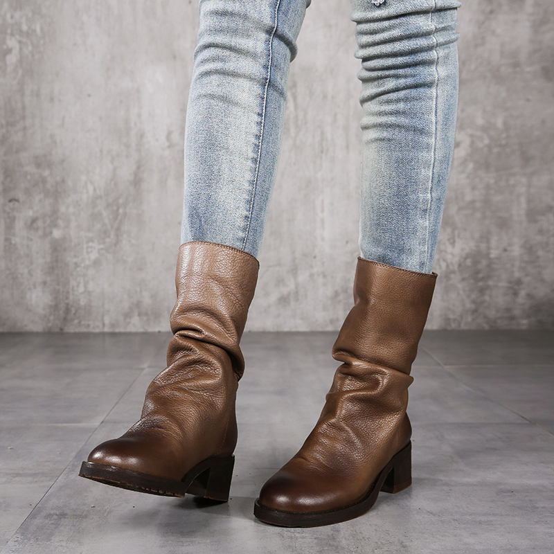 2018 Women Knee Boots Shoes Genuine Leather Super Soft Ladies Long Boots Chunky Heel Handmade Retro Shoes Woman