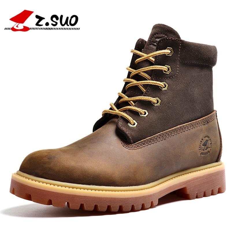 Z. Suo/мужские сапоги, модные кожаные мужские ботинки качество барабана уровне в Шить Сапоги, Botas Hombre Zs1208