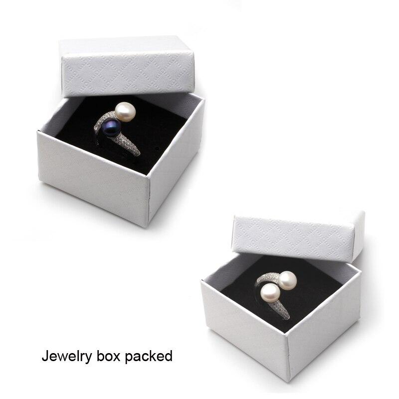 HTB1U162eBfM8KJjSZFhq6ARyFXaa Real 925 Sterling Silver Double Pearl Rings Women, AAA Cubic Zircon Fashion Jewelry Vintage Wedding Rings Gift Black Adjustable