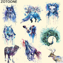 ZOTOONE New Design Watercolor Animal Series Patch T-shirt Press Sticker A-level Washable Iron on Transfer Patches for Clothing F