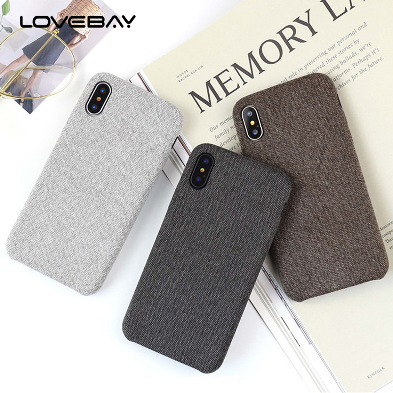 Lovebay Luxury Plush Fabrics Soft Back Cover For iPhone 7 Case Cotton Linen Cloth Phone Cases For iPhone X 8 7 6 6S Plus Coque