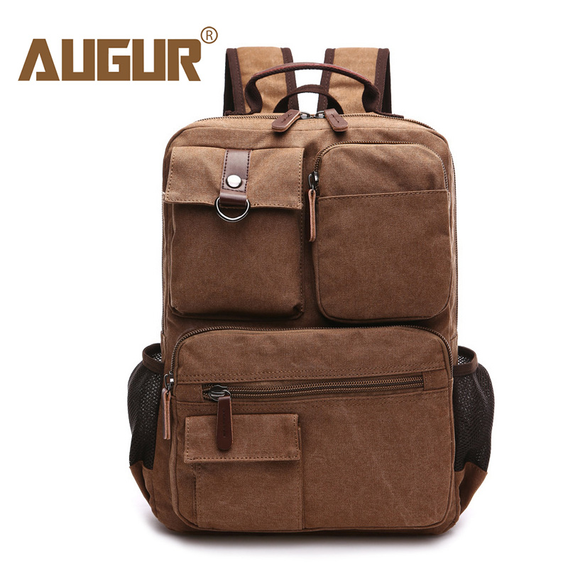 AUGUR Backpack Men Canvas Large Capacity 15.6 Inch Computer Laptop Backpacks Male Vintage Military Back Pack Traver Bag For Man цена