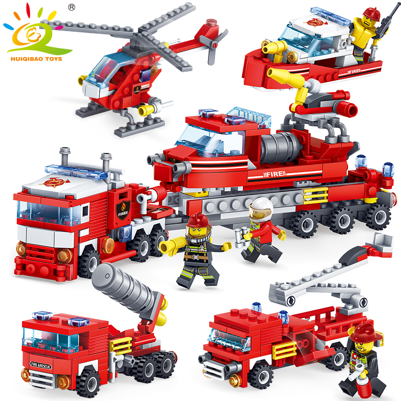 348pcs Fire Fighting 4in1 Trucks Car Helicopter Boat Building Blocks Compatible legorreta city Firefighter figures children Toys