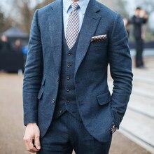 Шерсть, индивидуальный костюм, Роскошные Синие Серые фланелевые деловые костюмы для мужчин, Besopke, стильный костюм из 3 предметов, мужской костюм