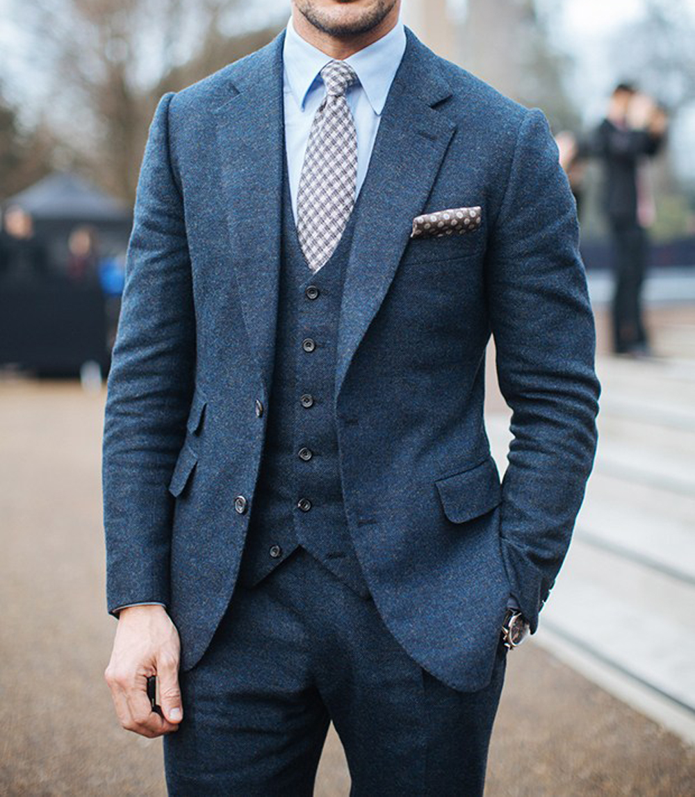 100% Wool Custom Suit Luxury Blue Grey Flannel Business Suits For Men, Besopke 3-piece Style Dress Suit Costume Homme De Luxe