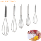 MAY FIFTEENTH Stainless Steel Egg Beater Milk Cream Butter Blender Hand Whisk Mixer Kitchen Accessories Pastry Cookie Tools 026