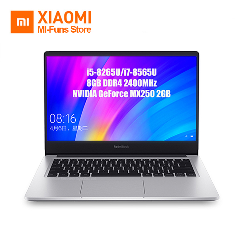 Original Xiaomi Redmibook 14 Inch Laptop Intel Core I5 - 8265U / I7 - 8565U 8GB DDR4 2400MHz RAM NVIDIA GeForce MX250