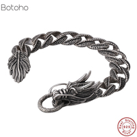 925 Sterling silver bracelet New fashion retro men Shitai silver bracelet Korean men's 100% 925 sterling silver bracelet thick