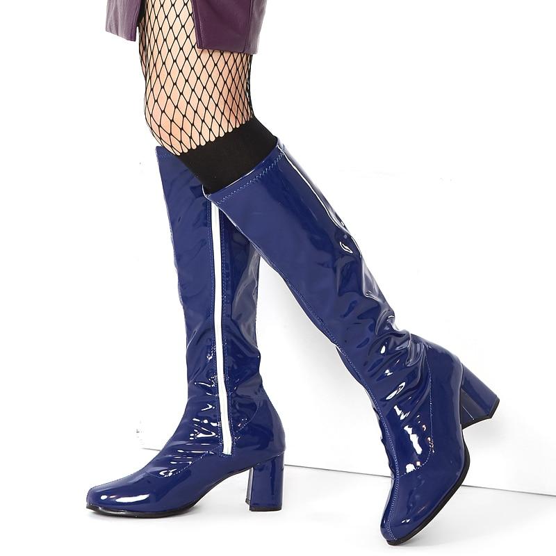 Carré S Fantaisie Chunky toe Chelsea Custom Color Talon 60 Femmes Bottes Haute Dames Jialuowei Robe Knee 70 Rétro Go Chaussures Partie High Pour NXnwk80ZOP