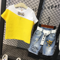 2PCS Boys patchwork clothing set kids summer yellow gray t shirt and ripped denim short set baby all match casual clothes 2 7T