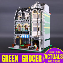 LEPIN 15008 2462pcs Creators series the Green Grocer house Model Building Blocks Compatible 10185 Architecture toys