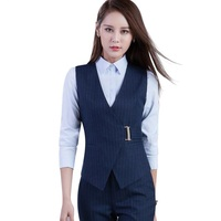 High quality business women stripes pants suits formal Slim V Neck vest with pants office ladies office plus size work wear