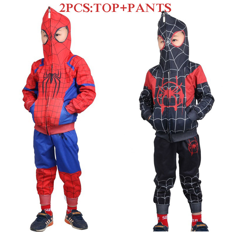 2019 New The Amazing Spiderman Cosplay Costumes Spider Man Tracksuit Superhero Sport Suit Kids Boys 3D Print Costume Top Pants