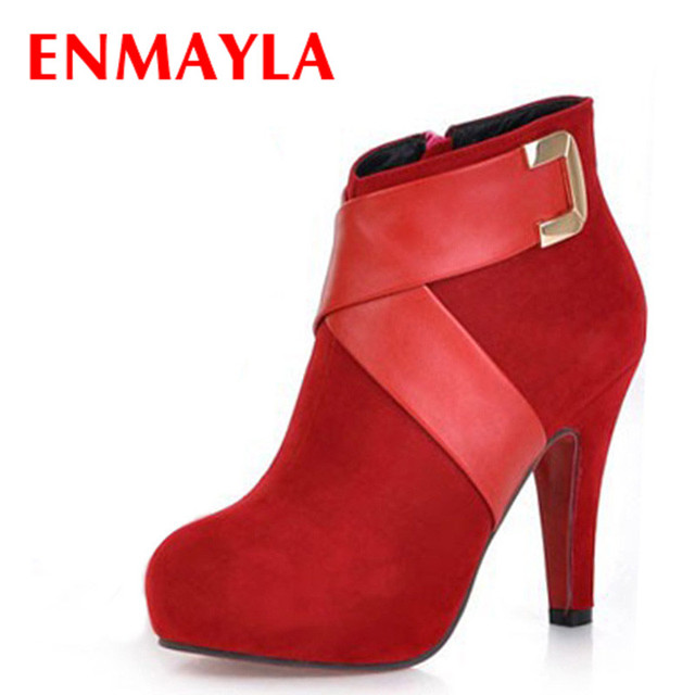 f7afe56e5 ENMAYLA Black Red Pink Ankle Boots Women Fashion Short Boot Winter Footwear High  Heels Shoes Woman Sexy Martin Boots