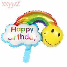 XXYYZZ Happy Birthday Inflatable Balloons Large Rainbow Smiley Face Balloon DIY Birthday Baby Shower Party Wedding Decoration(China)