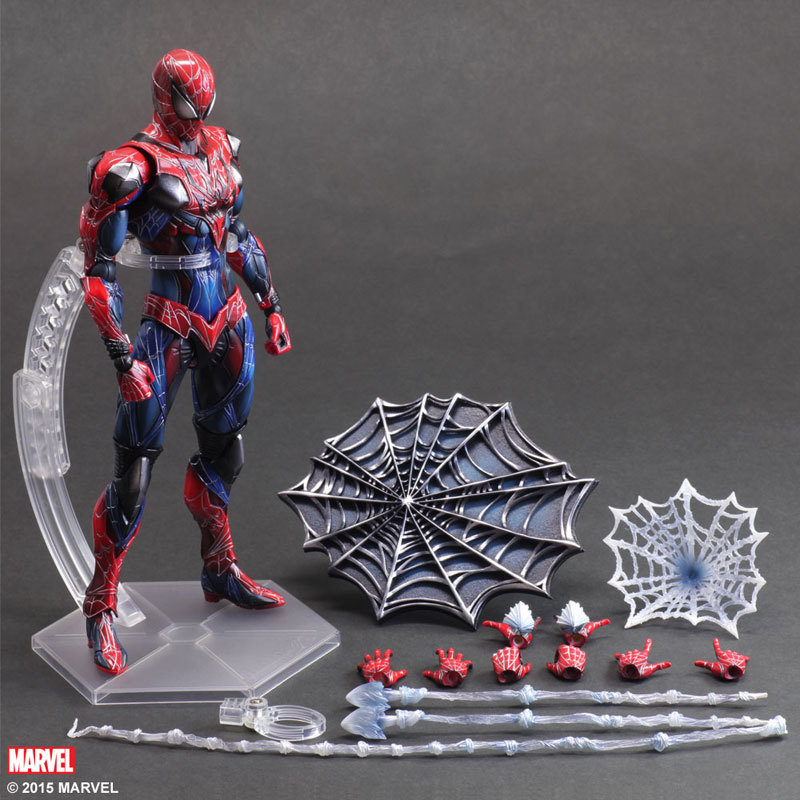 SAINTGI Spider Man Peter Play Arts Kai The Dark Knight Superhero Marvel Batman Avengers Super Hero PVC 26cm Predators Figures