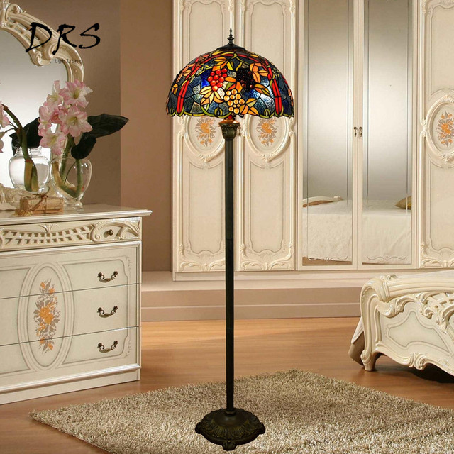 European Style Tiffany Rose Flower Stained Glass Floor Lamp For Dining Room Bedroom Lambader Standing