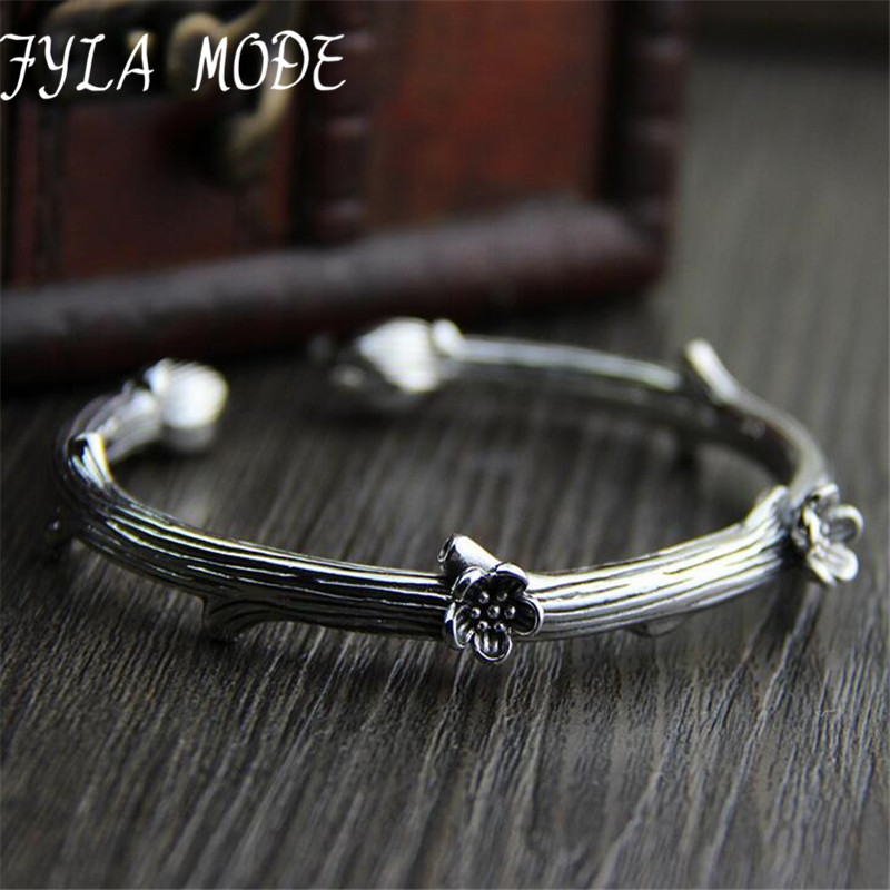 Fyla Mode 2017 New Delicate Antique Thai Silver Simple Plum Branch Cute Cuff Bracelets for Women 9mm 41G TYC119 delicate silver cuff bracelet for women page 4