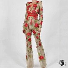Элегантный цветок знаменитостей Свадебная вечеринка 2 комплект из двух предметов Vestidos зимние с длинным рукавом Клубные обтягивающие спортивные костюмы