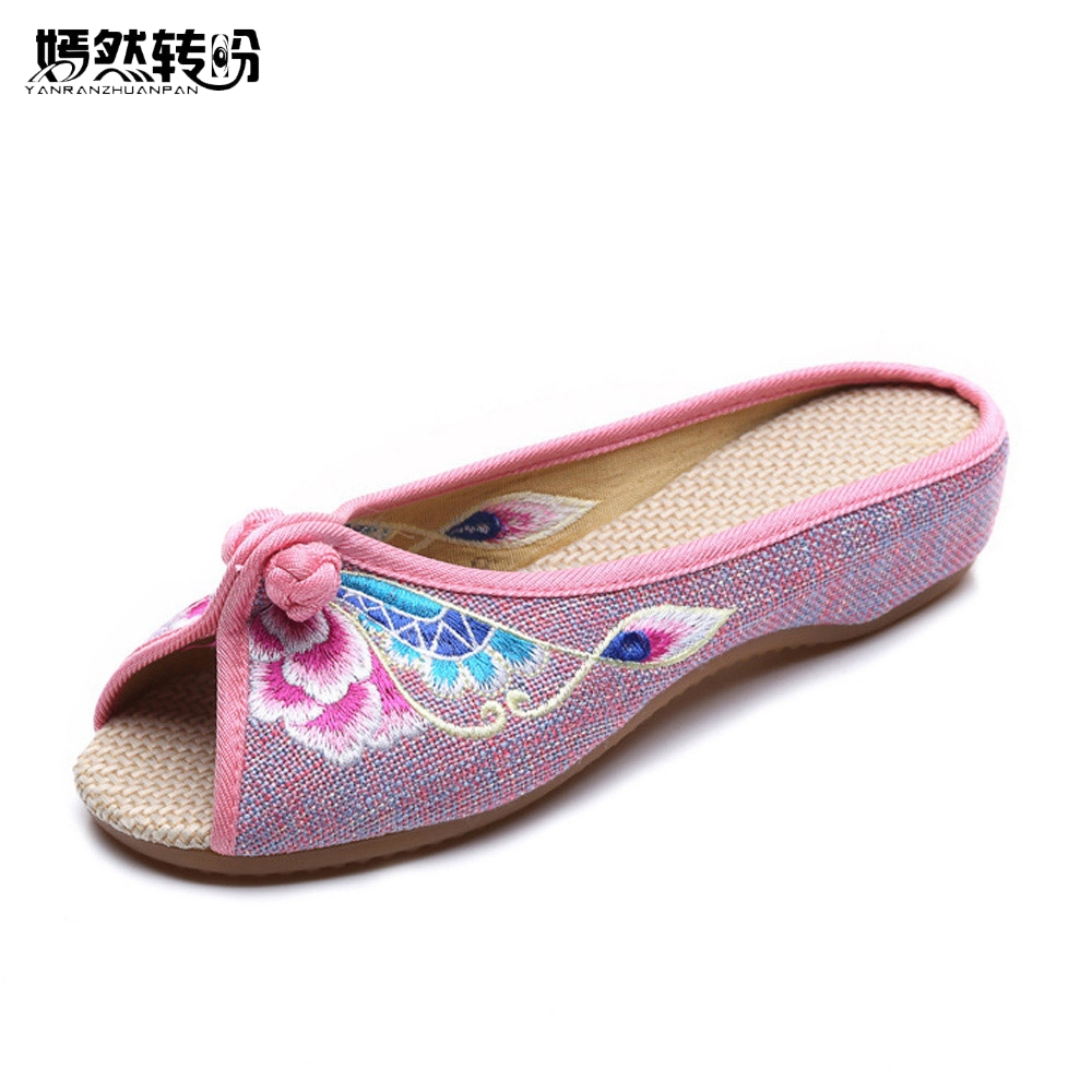 Vintage Embroidered Women Slippers Summer New Linen Chinese Canvas Old BeiJing Flowers Sandals Soft Shoes Size 35-41 autumn new women flats vintage chinese old beijing shoes tourism embroidered floral single soft lace up shoes woman