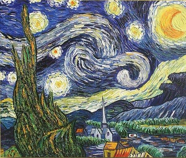 Monde célèbre tableau la nuit étoilée de Van Gogh peinture à l'huile à la main moderne cadeau unique pour les amis décoration de la maison pas de cadre