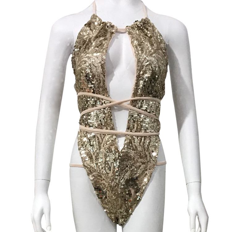 Women Bodysuit Swimwear One Piece Swimsuit Sexy Gold Sequin Mesh Trikini High Cut Bandage Bathing Suit Backless Monokini 4 Color in Bodysuits from Women 39 s Clothing