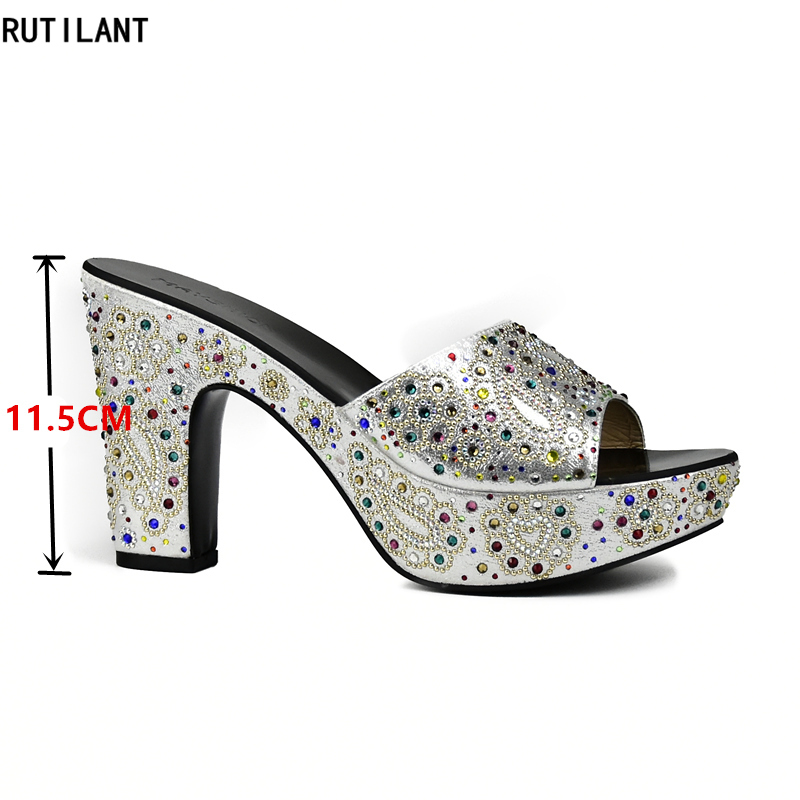 c95c348ee8e154 Sliver Ladies Sexy High Heels Pumps Rhinestones Large Size 37 To 43 High  Quality Slip on Women Party Shoes African Wedding Shoes