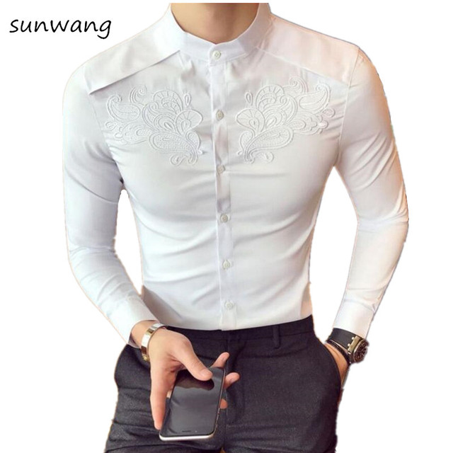 New 2018 Embroidery Fashion Spring Flower Shirts For Men Slim Fit