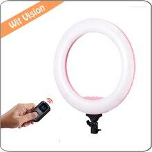2.4G Controle Sem Fio LEVOU Anel de Luz Pode Ser Escurecido Iluminação Fotográfica para a Câmera/Estúdio/Vídeo Com Carreg o Saco