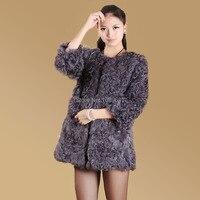 Fashion 2014 New Winter Women Pure Color Lambs Wool Fur Coat Keep Warm Medium Style Coat