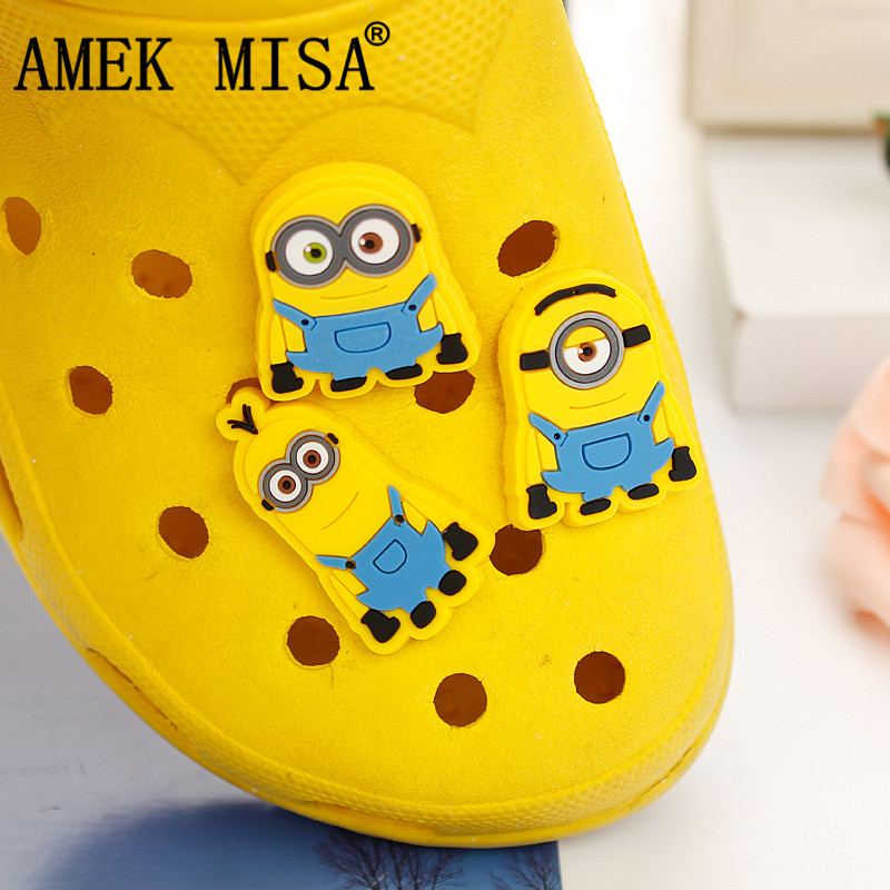 2/3Pcs A Lot PVC Shoe Decoration Minion/Monsters Inc Charms Accessories For Kids Favor Kawaii Vute Xmas Gift Fit Bands/Croc D88
