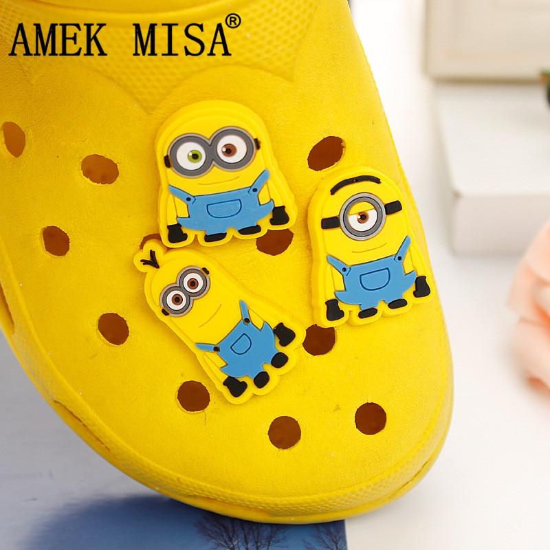 2/3Pcs A Lot PVC Shoe Decoration Minion/Monsters Inc Charms Accessories For Kids Favor Kawaii Vute Xmas Gift Fit Bands/Croc D88