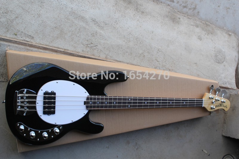 Free Shipping 4 strings music man stingRay bass electric bass with 9V Battery amplifier circuit Active pickups guitar . free shipping new lp 4 strings electric bass guitar bridge in chrome l18