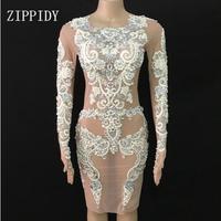 Модное блестящее кружевное Сетчатое платье с жемчугом, сексуальные платья, вечерние платья для танцев, женская одежда для пения
