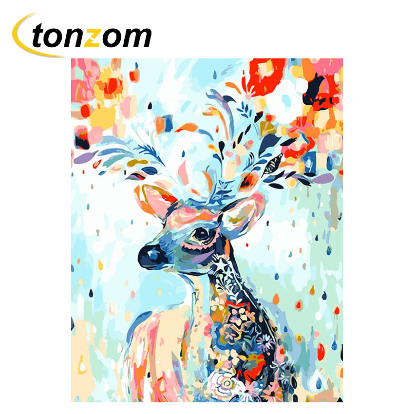 Lovely Vintage Leather Deer Head Animal Modern Oil Painting Drawing Art Spray Unframed Canvas Iron Miniature Wine Children24077604 Painting & Calligraphy Home & Garden
