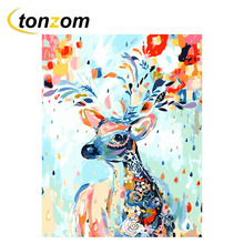 RIHE Colorful Deer Drawing By Numbers DIY Animal Painting Handwork On Canvas Oil Art Coloring Home Decor 2018