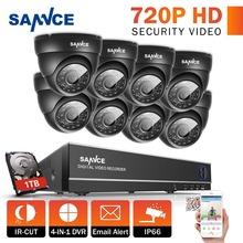 SANNCE Security Camera System 8CH TVL 720P AHD Weatherproof Outdoor CCTV Camera 8 channels Video Surveillance kits 1TB HDD