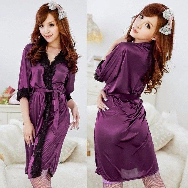 7fe147881f75 2019 Sexy Women Bath Robe Lady Night Sleepwear Purple Evening Soft Sleep  Evening Wear Kimono Lounge Lace Bathrobe Dressing Gown