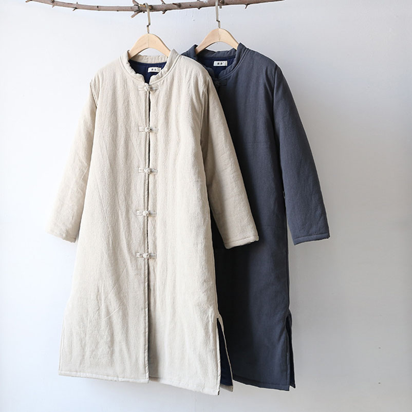 Women Parkas 2018 Winter New Vintage Chinese Style Long Parka Coats Stylish Stand Collar Thick Warm Cotton Linen Coat Women