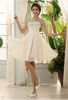 예쁜 품질 재고 새로운 연인 샴페인 아이보리 짧은 들러리 드레스