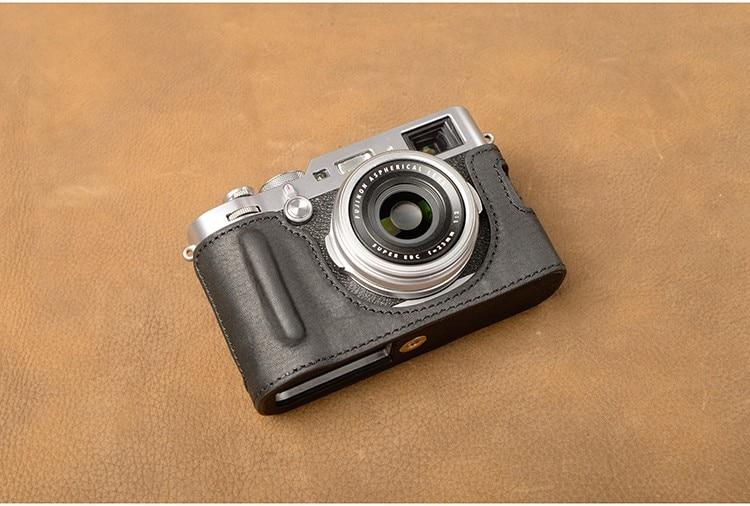 Handmade Genuine Real Leather Half Camera Case Bag Cover for FUJIFILM X-PRO3 Coffee Color
