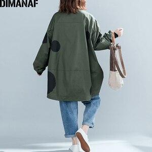 Image 5 - Dimanaf 2019 outono inverno mulheres polka dot casaco casaco tamanhos grandes cardigan com zíper roupas femininas solto oversized verde outerwear