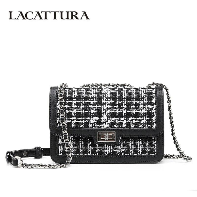 LACATTURA Designer Women Messenger Bag Jacquard Handbag Small Flap Tweed Shoulder Bags Fashion Chain Crossbody for Lady цена 2017